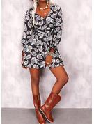 Print A-linjeklänning Långa ärmar Midi Boho Fritids skater Modeklänningar