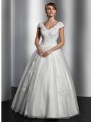 Duchesse-Linie V-Ausschnitt Bodenlang Tüll Brautkleid mit Spitze Pailletten