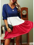 Blok Koloru Suknie shift Długie rękawy Mini Nieformalny Tunika Modne Suknie