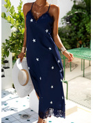 Lace Print Shift Sleeveless Maxi Casual Vacation Type Dresses