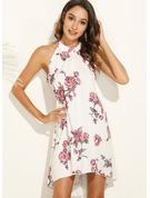 Floral Print Shift Sleeveless Midi Casual Dresses