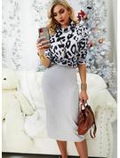 Leopard Figurbetont Lange Ärmel Midi Lässige Kleidung Modekleider
