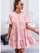 Floral Print Shift 1/2 Sleeves Mini Casual Tunic Dresses