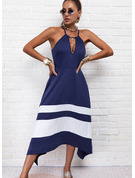 Blok Koloru W paski Sukienka Trapezowa Bez Rękawów Asymetryczny Nieformalny Łyżwiaż Rodzaj Modne Suknie