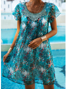 Lace Print Shift Short Sleeves Mini Casual Vacation Dresses