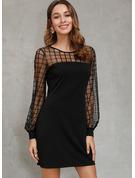 Solid Sheath Long Sleeves Mini Little Black Elegant Dresses