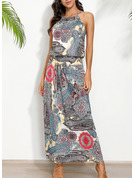 Print A-line Sleeveless Maxi Boho Casual Vacation Dresses