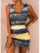 Tie Dye Bodycon Sleeveless Mini Casual Vacation Tank Dresses