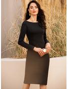 Åtsittande Långa ärmar Midi Ryggdetaljer Den lilla svarta Party Modern Sexig Modeklänningar