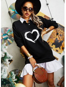 Color Block Print Skiftekjoler Lange ærmer Mini Casual Mode kjoler