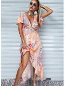 Nadruk Sukienka Trapezowa Krótkie rękawy Asymetryczny Nieformalny Wakacyjna Łyżwiaż Modne Suknie
