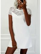 Solid Shiftklänningar Korta ärmar Mini Elegant Modeklänningar