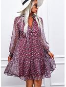 Floreale Stampa Abiti dritti Maniche lunghe Mini Casuale Tunica Vestiti di moda
