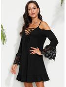 固体 シフトドレス コールドショルダースリーブ ミニ 休暇 ファッションドレス
