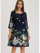 Blommig Print Shiftklänningar 3/4 ärmar Midi Boho Fritids t-shirt Tunika Modeklänningar