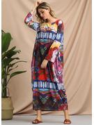 Geometric Print Print Shift 3/4 Sleeves Maxi Boho Casual Dresses