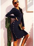 Solid Åtsittande Långa ärmar Midi Fritids Penna Modeklänningar