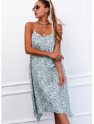 Floral Print Shift Sleeveless Midi Casual Type Dresses