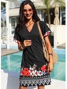 Solid Shiftklänningar Korta ärmar Mini Boho Fritids Tunika Modeklänningar