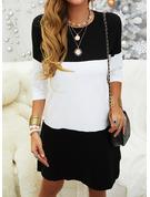 Color Block Shiftklänningar 3/4 ärmar Mini Fritids Tunika Modeklänningar