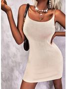 Sólido Cubierta Sin mangas Mini Casual Tipo Vestidos de moda