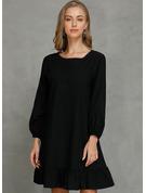 Sólido Vestidos sueltos Mangas 3/4 Mini Pequeños Negros Casual Túnica Vestidos de moda