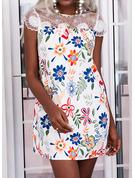 Floral Encaje Impresión Vestidos sueltos Manga de Gorra Mini Elegante Túnica Vestidos de moda