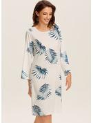 Print Shiftklänningar Långa ärmar Midi Fritids Tunika Modeklänningar