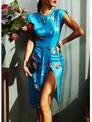 Animaliska Tryck Åtsittande Ärmlös Midi Elegant Modeklänningar