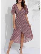 Floral Print A-line Short Sleeves Asymmetrical Boho Casual Vacation Skater Dresses