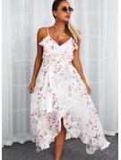 Kwiatowy Nadruk Sukienka Trapezowa Bez Rękawów Maxi Nieformalny Łyżwiaż Rodzaj Modne Suknie