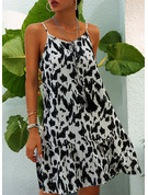 Leopard Shift Sleeveless Mini Casual Sexy Vacation Type Dresses