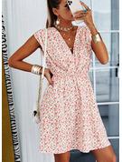 Print Kjole med A-linje Ærmeløs Mini Casual skater Mode kjoler