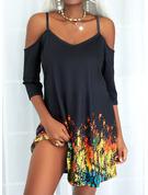 印刷 シフトドレス 3/4袖 ミニ カジュアル 休暇 チュニック ファッションドレス