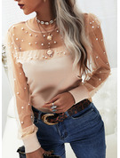 Beaded Solid Round Neck Long Sleeves Elegant Blouses
