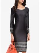 Print Sheath Long Sleeves Midi Party Elegant Dresses