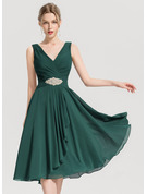 A-Line V-neck Knee-Length Chiffon Cocktail Dress With Beading Cascading Ruffles