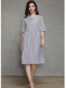 Striped Shift 1/2 Sleeves Midi Casual Tunic Dresses