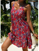 Floral Print Shift Sleeveless Mini Casual Vacation Dresses