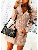 Print Sheath Long Sleeves Mini Casual Dresses