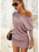 Solid Bodycon Batwing Sleeves Long Sleeves Mini Casual Dresses