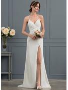 Sheath/Column V-neck Sweep Train Stretch Crepe Wedding Dress With Ruffle Split Front