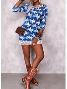 Floral Impresión Vestidos sueltos Mangas 3/4 Mini Casual Túnica Vestidos de moda