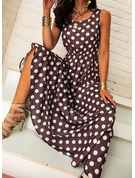 PolkaDot A-line Sleeveless Maxi Midi Casual Dresses