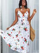Květiny Puntíky Tisk Do tvaru A Bezrukávů Maxi Neformální Skaterové Typ Módní šaty
