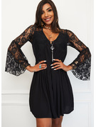 Lace Solid Sheath Flare Sleeve Long Sleeves Mini Little Black Elegant Dresses