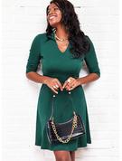 Solid Kjole med A-linje 3/4 ærmer Midi Elegant skater Mode kjoler