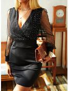 Paljetter Solid Åtsittande Långa ärmar Mini Den lilla svarta Party Elegant Modeklänningar