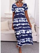 タイダイ シフトドレス 半袖 マキシ カジュアル 休暇 Tシャツ ファッションドレス