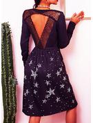 Blonder Print Skiftekjoler Lange ærmer Midi Casual Tunika Mode kjoler